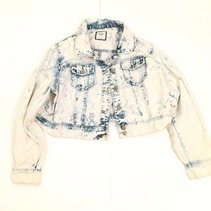 Women's crop top acid wash denim jacket 2Xl